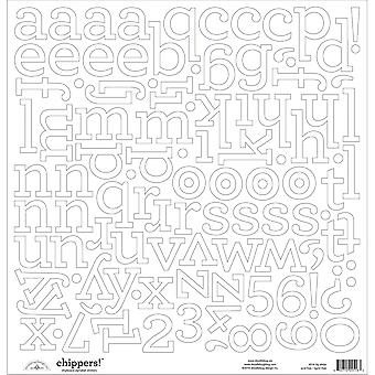 Chippers Monochromatic Chipboard Alphabet Stickers 12