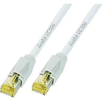 RJ49 Networks Cable CAT 6A S/FTP 20 m White Flame-retardant, incl. detent DRAKA