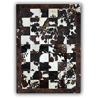 Rugs - Patchwork Leather Cubed Cowhide - Normandy Cow Natural