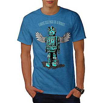 Robot Angel Funny Geek Men Royal Blue T-shirt | Wellcoda