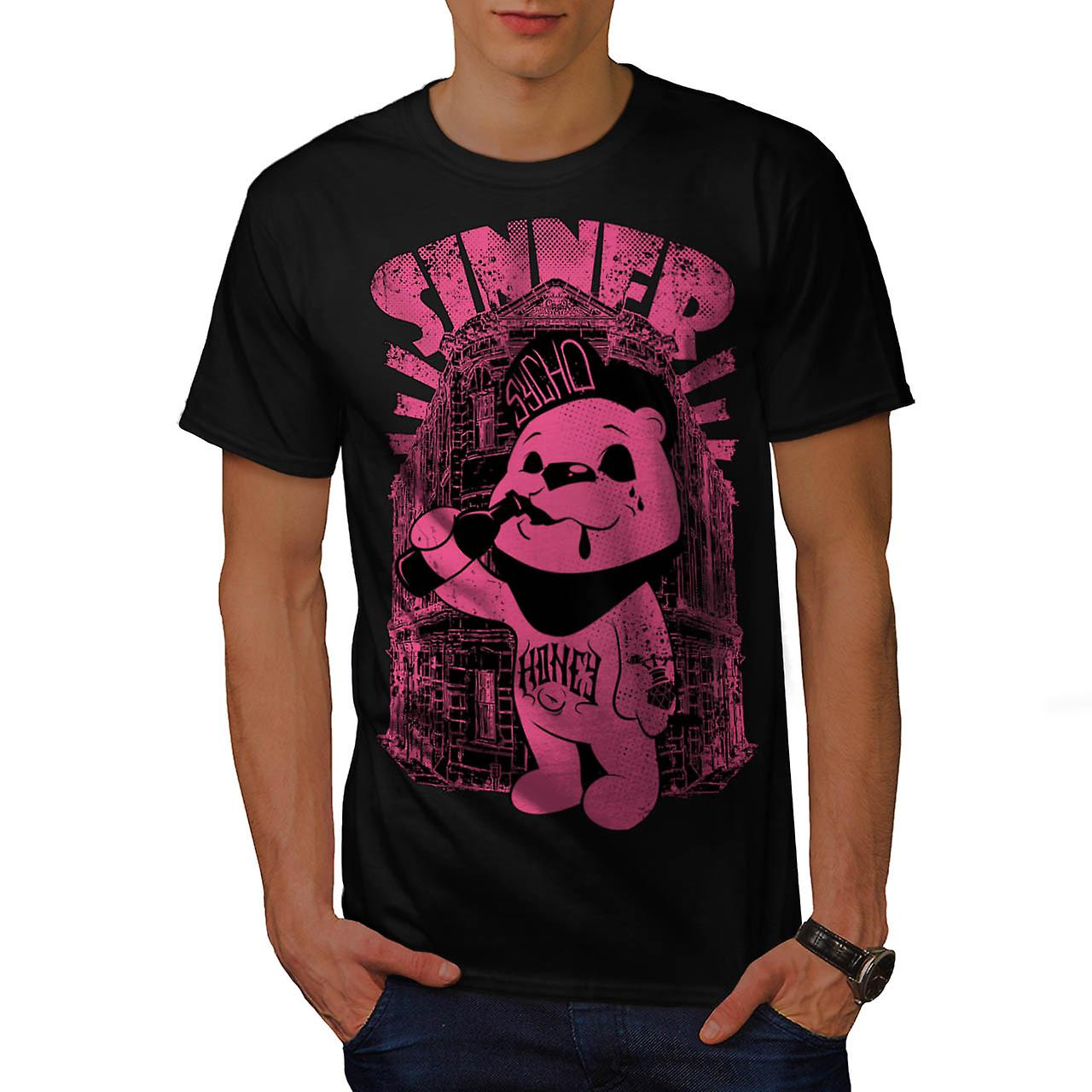 Sinner Teddy Ted Bear Psycho Cub Men Black T-shirt | Wellcoda