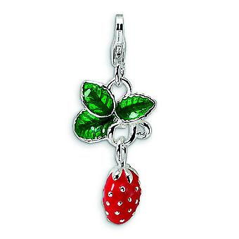 Sterling Silver Rhodium-plated Fancy Lobster Closure 3-D Enameled Strawberry With Lobster Clasp Charm - Measures 32x13mm