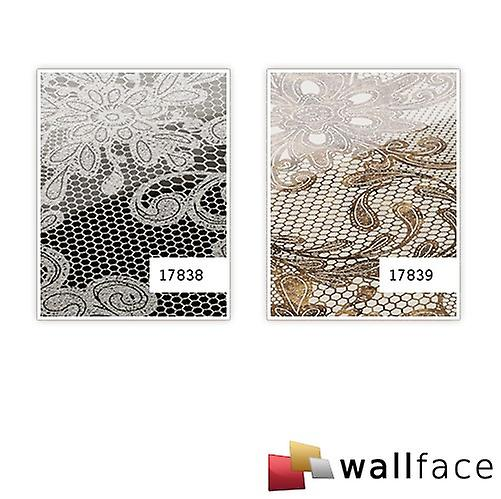 Wall Panel glass optics French of lace pattern WallFace 17839 LACE wall covering adhesive white Brown | 2.60 sq m