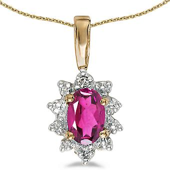 14k Yellow Gold Oval Pink Topaz And Diamond Pendant with 18