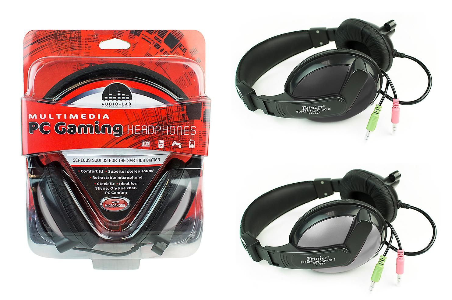 Audio Lab PC Gaming Over Ear Headphones Stereo Sound Adjustable Black