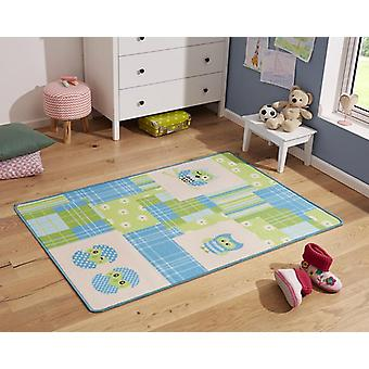 Design kids carpet OWL blue green 100 x 140 cm