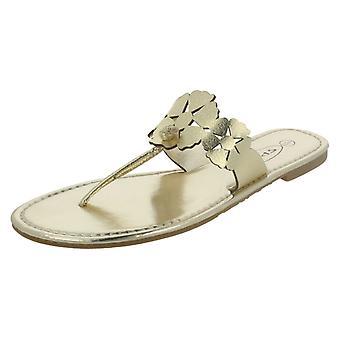 Ladies Spot On Flat Toe Post Sandal With Flower Design - F0391