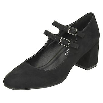 Ladies Spot On Blocked Heel Mary Jane Style Shoes F9922