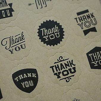Kraft Brown 'Thank you and Handmade' Stickers Assorted Designs 40 Stickers
