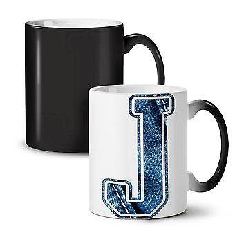 Letter J Jeans Fashion NEW Black Colour Changing Tea Coffee Ceramic Mug 11 oz | Wellcoda