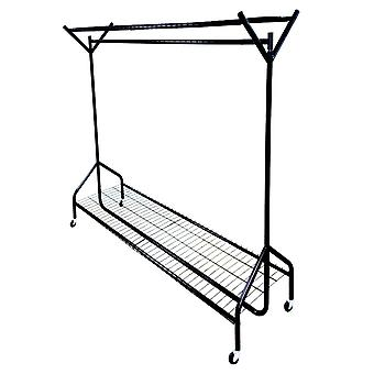 4ft long x 5ft Black Heavy Duty Hanging Clothes Garment Rail with Shoe Rack Shelf and Hat Stand