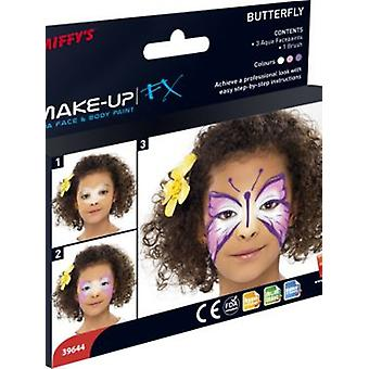 Smiffys Make Up Fx Aqua Butterfly Kit 3 Colours Brush And Step By Step Guide (Kostuums)