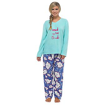 Ladies Tom Franks Applique And Printed Long Warm Fleece Pyjama Sleepwear Set