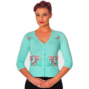 Banned - FACE TO FACE FLAMINGOS - Embroidered Cardigan, BLUE