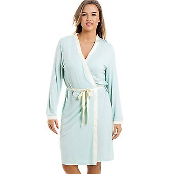 Camille Stylish Knee Length Long Sleeve Mint Green Dressing Gown