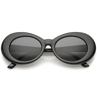 Retro Oval solbriller med koniske arme Neutral farvet runde linse 51mm
