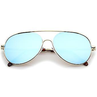 Occhiali da sole Aviator lente specchio colorato Semi-Rimless Classic Brow Bar 57 mm