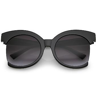 Women's Oversize Semi Rimless Frame Neutral Colored Lens Cat Eye Sunglasses 59mm