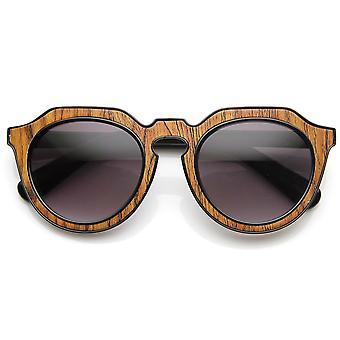 High Fashion Block Cut Pattern Print Keyhole Round Sunglasses