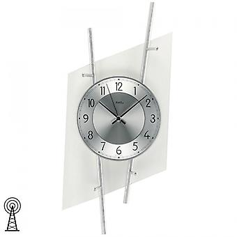 Radio controlled wall clock modern wall clock in mineral glass with silver