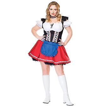 Frisky Frauline Oktoberfest Garden Beer Maid German Heidi Women Costume Plus