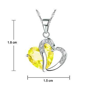 Boolavard® TM Fashion Osterreic Czech Crystal Heart Shape Pendant Necklace + Gift Box yellow  …