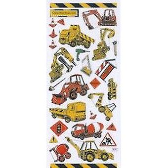 Foiled Construction Vehicle Sticker Sheet for Kids | Childrens Craft Stickers