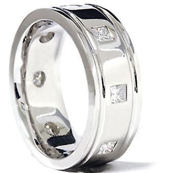3/4ct Princess Cut Mens Comfort Fit Wedding Band Ring