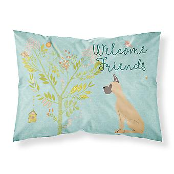 Welcome Friends Fawn Great Dane Cropped Ears Fabric Standard Pillowcase