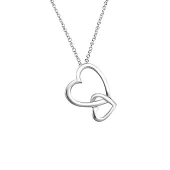 Hearts - 925 Sterling Silver Plain Necklaces - W18469x