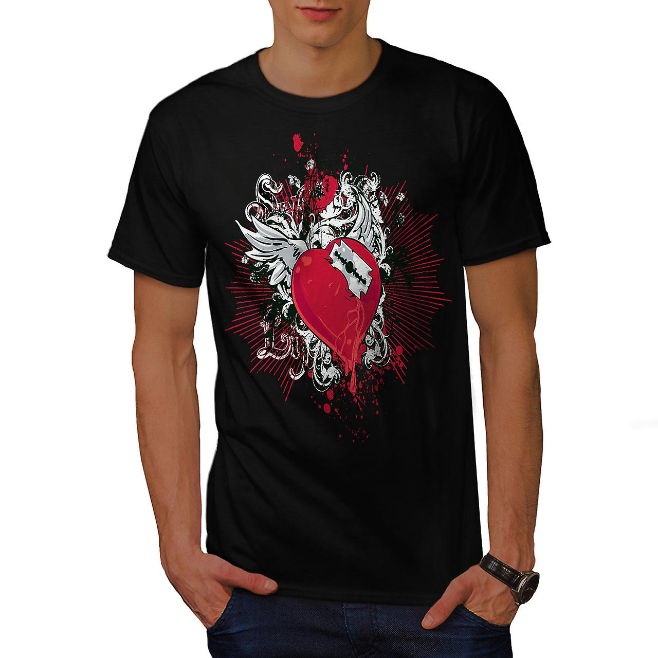 Broken Heart Cool Fashion Men Black T-shirt | Wellcoda