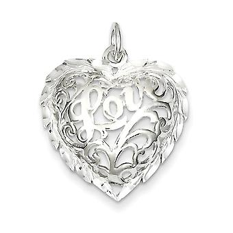 925 Sterling Silver Love Heart Charm Pendant - 22mm