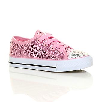Ajvani flickor platt glitter spets upp tennisskor utbildare sneakers