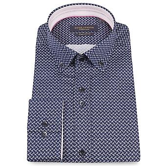 Guide London Cotton Sateen Geometric Print Mens Shirt