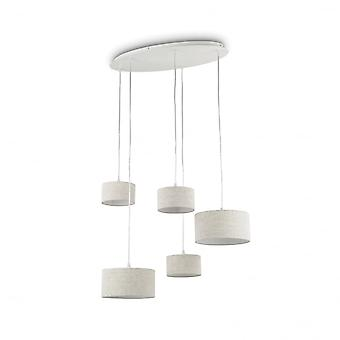 Ideal Lux Ekos Ceiling Plate With 5 Cascade Taupe Drum Shade Suspensions
