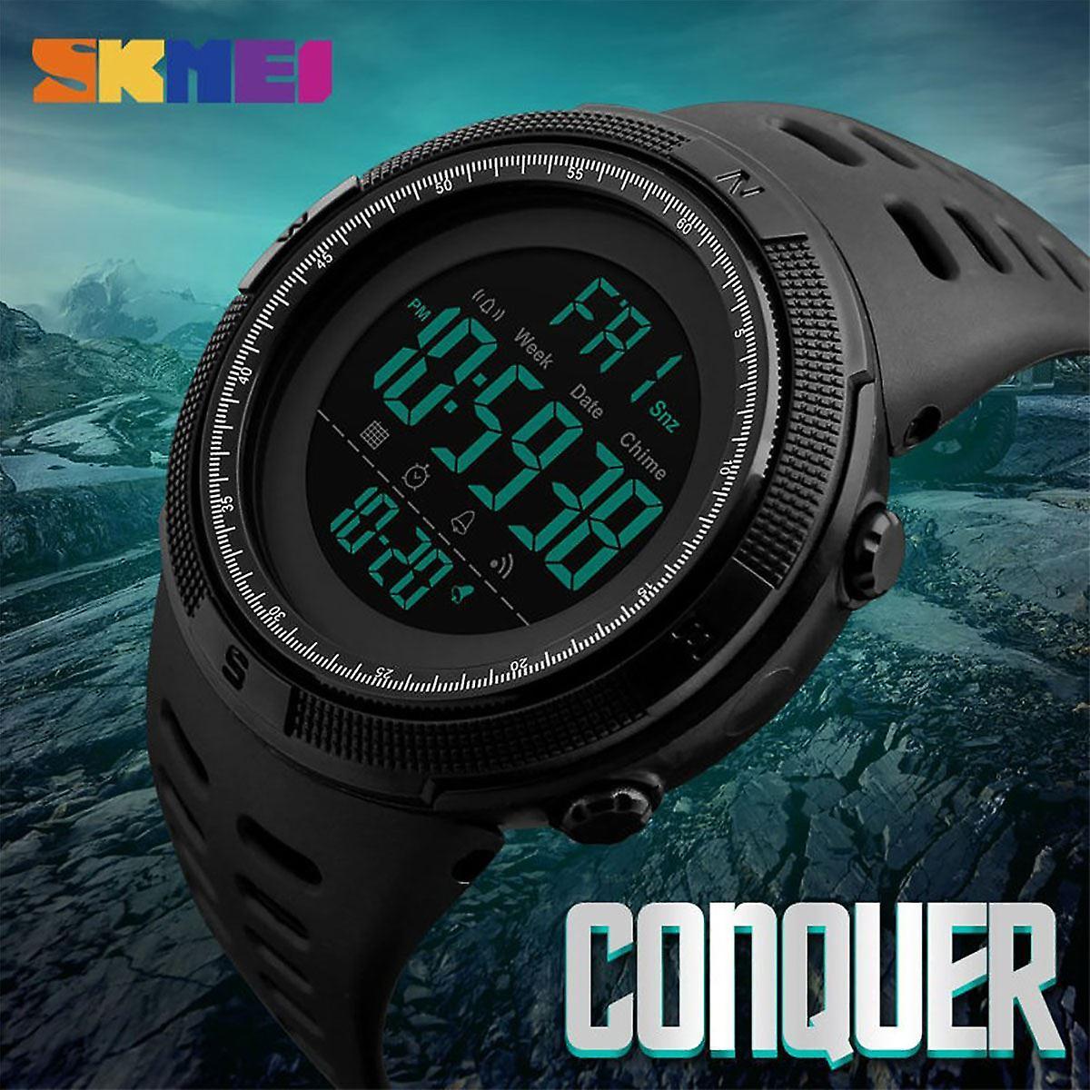 SKMEI メンズ大型表示デジタル時計樹脂ストラップ ストップウォッチ アラーム DG1251
