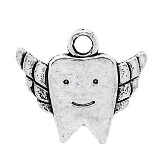 Packet 10 x Antique Silver Tibetan 20mm Tooth Charm/Pendant ZX05640