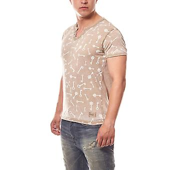 RUSTY NEAL keys mens T-Shirt beige in used look