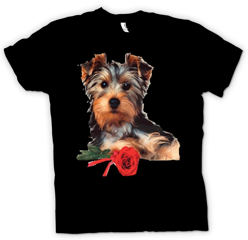 Womens T-shirt - Yorkshire Terrier Dog with Rose