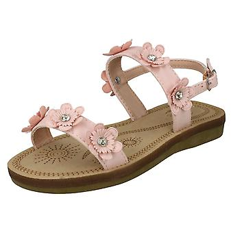 Girls Spot On Slingback Flowery Sandals H0292 - Pink Synthetic - UK Size 11 - EU Size 29 - US Size 12