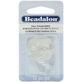 Ball Chain Ends 2.4mm 12/Pkg-Silver Plated