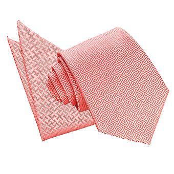 Coral Greek Key Tie & Pocket Square Set