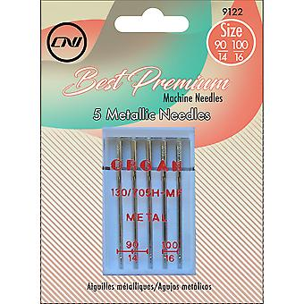 Metallic Needles 5/Pkg-Sizes 90/14, 100/16