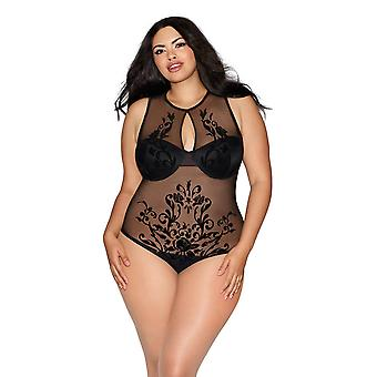 Plus Size Sheer Rose Motif Underwire Keyhole Overlay Teddy Lingerie