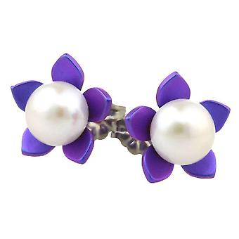 Ti2 Titanium Large Flower and Pearl Stud Earrings - Imperial Purple