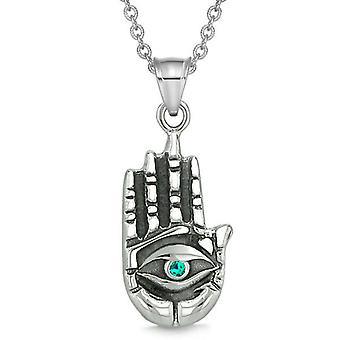 All Seeing Feeling Buddha Eye Hamsa Magic Powers Amulet Green Crystal Pendant Necklace