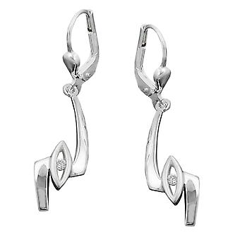 Earring earrings cubic zirconia white Brisur glitter ear hook 925 sterling silver