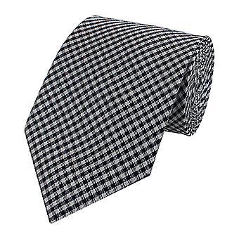 Tie cravate Cravates Binder noir 8cm gris damier Fabio Farini
