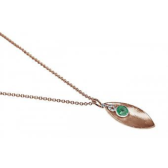 Ladies - necklace - pendant - 925 Silver - rose gold plated - MARQUISE - emerald - green - 45 cm