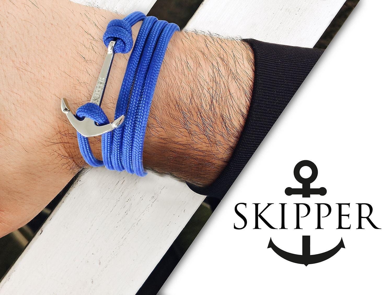 Skipper Anker-Armband Wickelarmband Nylon in Gelb mit Schwarzem Anker 7359
